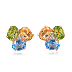 S925 Pure Silver Colored Gemstone Stud Earring Natural Topaz Olivine Topaz Ear Nails Pendientes Mujer Brillante