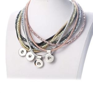 Cheap collane del Choker Nuovo 18 millimetri monili di modo brillante Snap Button Collana all'ingrosso dell'annata dei Snap ciondolo collana donne magnetica