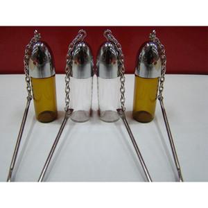 57MM verre Tabatière Pill Bottle Case Argent ClearBrown Vial avec métal Cuillère Spice Bullet Rocket Ronfler renifleur Case