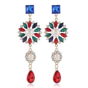 Simulated Pearl Sun Flower Earrings For Women Jewelry Crystal Woman Drop Earrings Statement Earings Fashion Jewelry