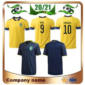 20/21 السويد الرئيسية لكرة القدم بالقميص 2020 بعيدا BERG IBRAHIMOVIC LARSSON فورسبرغ كرة القدم القميص رقم 12 جونسون موحدة # 11 GUIDETTI كرة القدم