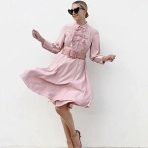 Autumn Suit-dress Lapel Long Sleeve Bow Long Pink Colour Dress