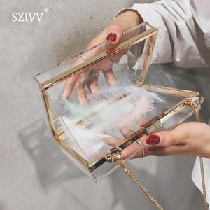 2020 Nueva primavera verano de las mujeres de acrílico transparente del monedero del bolso de Crossbody del bolso del partido transparente linda mujeres de los bolsos boda de la tarde del embrague