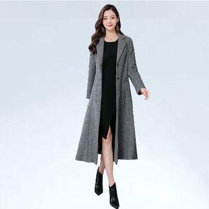 Woll Trenchcoat Frauen Ultra-Long zu Ankle 2019 und Winter neue Art-Muster Elegante Nizi Mantel Duffle Mode