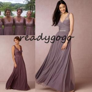 Dusty Plum Платья для подружек невесты с V-образным вырезом 2020 Модные кружевные тюли в полный рост Богемная пляжная страна Юношеская фрейлина свадебное платье для гостей