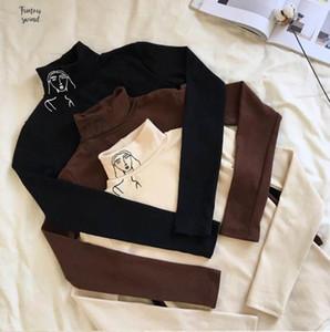 2019 Tişörtlü Yeni Kadın Giyim Sonbahar Yeni Yüksek Uzun Kollu İnce Baskılı Yaka Kadın Drop Shipping
