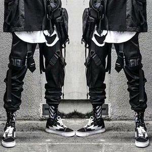 Hip hop ansima Mens benda nera Danza pantaloni con tasche Locks Moda Cargo Pants 2020 nuovi arrivi