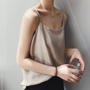 2020 casual Women Sexy Summer Tank Tops Cropped Tops Strap Women Camisole Satin Tank Top Camiseta Mujer Tirantes High Quality Y200701