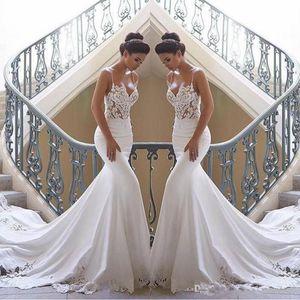 Vintage Mermaid Wedding Dresses Nigeria Sexy Backless Lace Boho Wedding Dress Long Train Spaghetti Straps Cheap Sleeveless Bridal Gown 2020