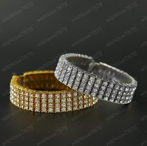 Hip Hop Bracelet Gold Palted Bling Bling 4 Row Iced Out Cz Bracelet Top Fashion Mens Jewelry free shipping