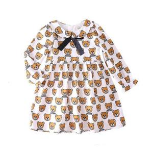 Crianças Retail Baby Girl Vestidos lapela boneca Urso impressos Ruffle princesa Vestidos para a roupa crianças Girls Dress Clothing