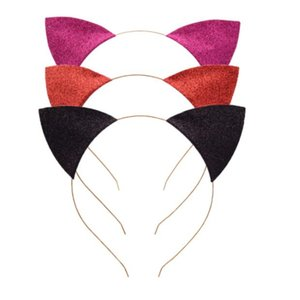 Chat oreilles Bandeau bébé Glitter chat oreilles Piques à cheveux Metal Head Hoop fermoirs vacances de soirée de mariage Décoration Props GGA3346-1