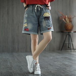 2020 artistic all-match loose cloth embroidered denim women's elastic waist slim straight Embroidered Shorts and shorts pants women