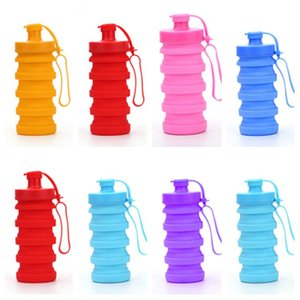 Botella de agua plegable creativo nueva Silica Gel Fold tazas telescópica Tumbler Deportes Beber Copas acampar alza Vaso 400ml T2I5392