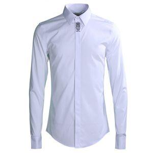Slim Casual Shirt men 2019 qualité 80% Coton couleur unie business male Chemises habillées à manches longues Plus la taille M-4XL Camisas