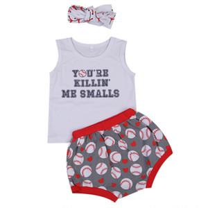Summer Kids Baby Girls Carta Ropa para niños pequeños Conjunto Chaleco Shorts Diadema Béisbol Imprimir 3 unids Trajes Ropa de los niños