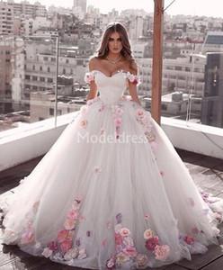 럭셔리 2020 새로운 웨딩 드레스 손으로 만든 꽃 오프 Shoulde 스윕 기차 얇은 명주 그물 나라 신부 드레스 매력적인 다채로운 뜨거운 Vestidoe 드 Noiva