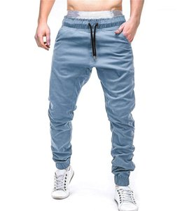 Tamaño pantalones Solid Color de la correa para hombre de la cruz con los pantalones de deporte ocasional del bolsillo flojo polainas para hombre 10Colors Plus