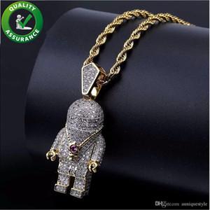 Iced Out Mens dei monili del pendente di Hip Hop Bling Pendenti catena Designer di lusso collana Pandora Style micro pavimentato CZ di moda del diamante Rap