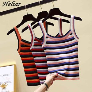HELIAR Women Striped Knitting Camis Sexy Spaghetti Club Camis Female Solid pull over t shirts Sleeveless 2019 Summer Tank Tops