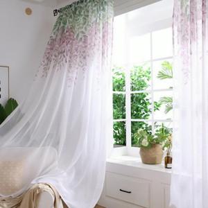 Tulle Curtain stampato moderna Wisteria Flower Separato Tulle Soggiorno Camera da letto Cucina drappeggiato pannello trasparente casa