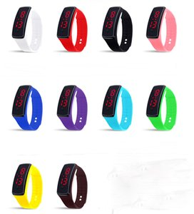 Hot Sale Unisex Silicone LED Digital Creative Touch Screen Sport Watch Bracelet Birthday Gifts 10 Colors for Choose