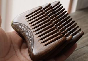 Cep Ahşap Tarak Doğal Altın Sandal Ağacı Süper Geniş Diş Ahşap Combs Çift taraflı küçük saç tarak kazınmış