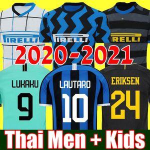 2020 2021 ERIKSEN Lukaku Lautaro İnter ev uzakta Milan futbol formaları Barella 19 20 21 futbol üst gömlek Erkekler Çocuk Setleri üniforma setleri