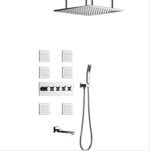304SUS et laiton Made Robinets de douche de salle de bains 50 * 50cm Pomme de douche pluie Set de douche haut débit inverseur mélangeur Rainfall Body Jets Système de douche