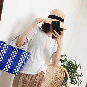 2020 INS Woven Bag Charity Basket Beach Bag Women Orginal Mar Ni Bags Handbags Plaid Knitted Dog Neverful Cc