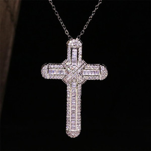 Top Selling Luxury Jewelry 925 Sterling Silver Handmade Full White Sapphire CZ Diamond Gemstones Cross Pendant Women Wedding Necklace Gift