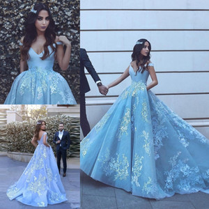 Pocket Design Lace Applique Ball Gown Quinceanera Dresses 2019 Modest Dubai Arabic Off-shoulder Luxury Train Princess Occasion Evening Gowns