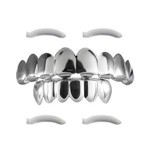 HIP HOP Dents Grillz Top 8 Or Plaqué Or Bretelles Or Dent Manches Halloween Props Géométrie Dents Bijoux En Gros