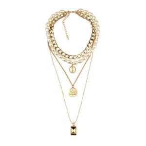 Nuovi accessori gioielli donne selvaggio collana di perle multi-layer femminile di cristallo moneta catena pendente maglione
