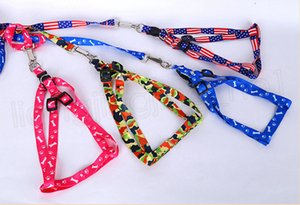 Cuerda collar del animal doméstico del arnés del perro Correas Tie collar de nylon ajustable Impreso para mascotas collar de perro de perrito del gato Animales Accesorios 1.0 * 120cm FFA3799-5