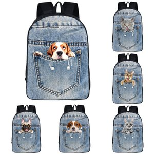 Multifuncional Student Shoulder Backpack 8 design personalizado 3D Ombros Pocket Pet Backpack Crianças de alta qualidade de 16 polegadas Big Schoolbag 06