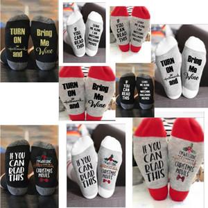 Amazon vendita calda calza di Natale Lettera ginocchio Printed Media Calze Uomo Donne alfabeto calzino Sport Yoga calzino Decorazioni di Natale