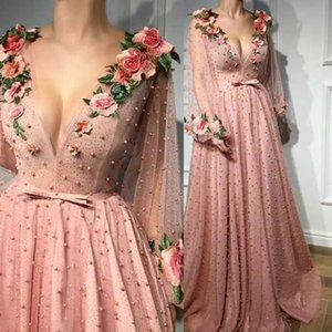 New A-line Prom Dresses 2020 Deep V neck Pink Evening Dresses With 3D Flower Beaded Long Sleeves Party Gowns