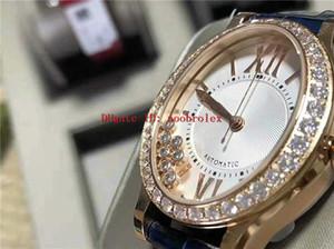 Novas Mulheres relógio de diamantes diamantes felizes relógio suíço 2892 Rose automática Oval ouro 316L de aço do diamante moldura cristal de safira
