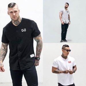 Повседневные мужские хлопчатобумажные футболки спортивная одежда 2018 Новое Лето твердые кнопки Fly тонкий короткий рукав фитнес-одежда топы Tee UK M-2XL
