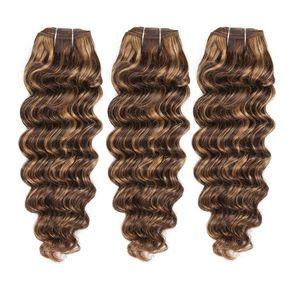 العسل شقراء موجة عميقة مختلطة 4 27 الشعر حزم موجة عميقة عذراء الشعر الخام الهندي الشعر البيانو اللون الحياكة