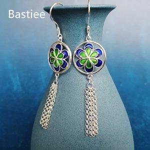 Bastiee Yuvarlak Püsküller 999 gümüş küpe İçin Kadınlar emaye işi Emaye Takı Lüks Miao El yapımı Uzun Küpe Mavi