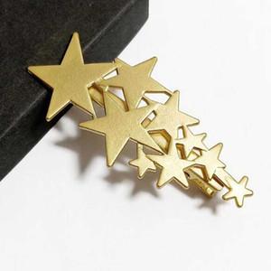 Venta al por mayor 14k Gold Star Hair Clips Full Star Barrettes Duck Clips Women Girl Hair Jewelry Accessories
