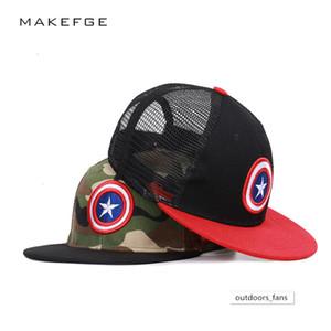 Flat Eaves Children's hat camouflage baseball Spider-Man Superman Captain America hip-hop net cap