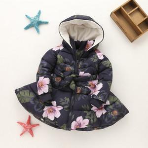 Florais impressos Parka meninas Jaquetas para meninas Coats 2018 Hot Sale lã quente Crianças com capuz Grosso Jackets Roupa das Crianças