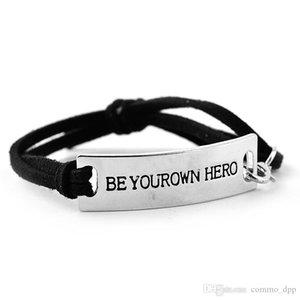 """""""BE yourown HERO"""" Inspirierend Lederarmbänder Herren Letter Word Charm verstellbare Armband für Frauen Fashion Jewelry Freund Geschenk"""