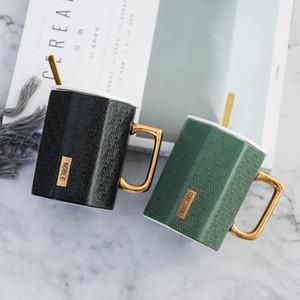 창조적 인 골드 다각형 세라믹 커피 잔 뚜껑과 숟가락 도자기 주스 마시는 컵 커피 우유 차 컵