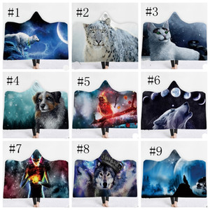 Hooded Blankets Animal Printed Fleece Blankets Kids Wearable Throw Blanket Colored Sherpa Blanket Wolf Tiger Lion 34 Designs 10pc DSL-YW1671