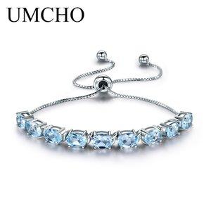UMCHO 9ct Sky naturale Topazio azzurro Acquamarina Argento 925 catena Braccialetti di collegamento per le donne Fine Jewelry regolabile Bracciale CJ191128