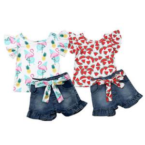 1-6 años Niño Niños bebés Trajes Flamenco impresión de manga corta de volantes remata la camiseta de mezclilla pantalones cortos de chicas Trajes